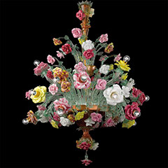 Murano Chandelier Roseto multicolors 18 lights