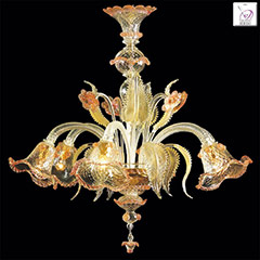 Murano glass Chandelier Secolo 6 lights